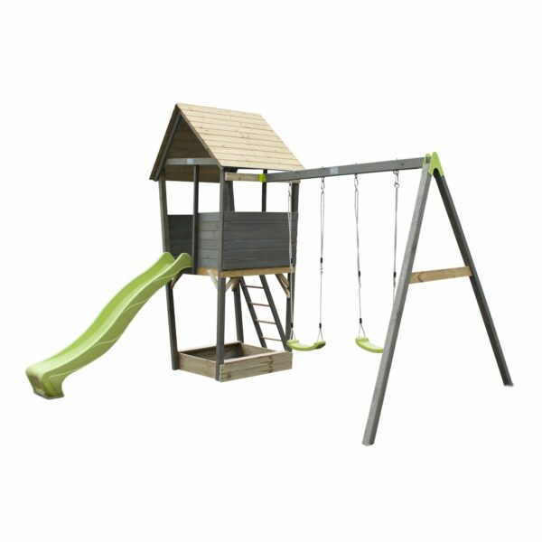 exit-aksent-wooden-play-tower-with-a-2-seat-swing-grey