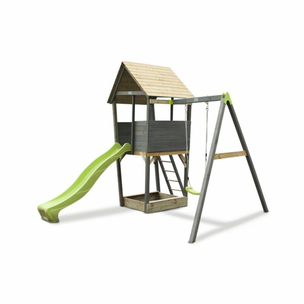 exit-aksent-wooden-play-tower-with-a-1-seat-swing-grey