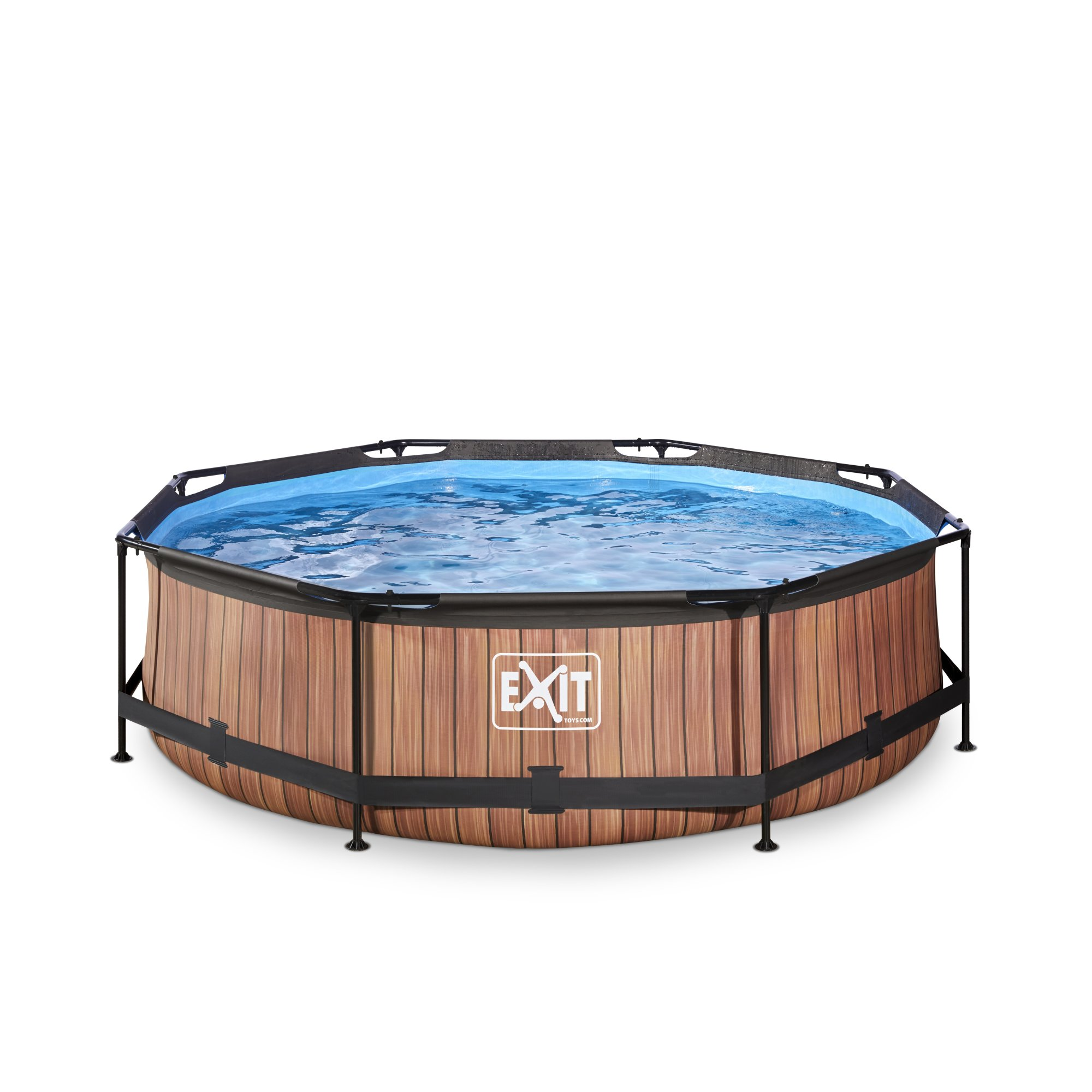 EXIT Wood Pool ø300x76cm with filter pump - Brown   Douglas Forest ...